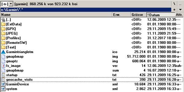 Blick ins Garmin-Hauptverzeichnis des Gerätes...