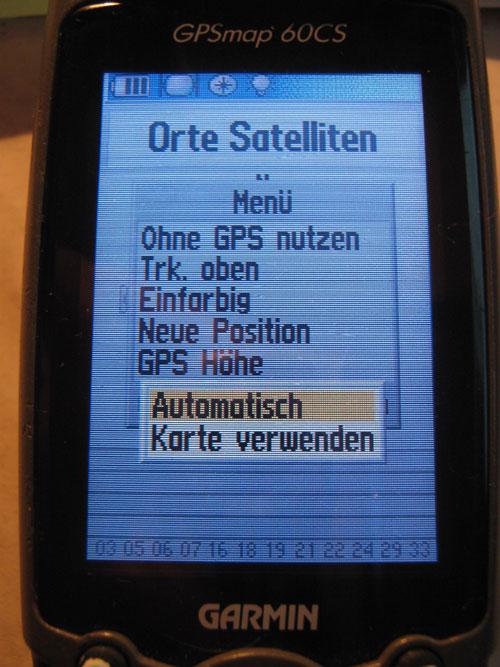GPSMap 60CS Satelliten-Menü # Neue Position - Automatisch
