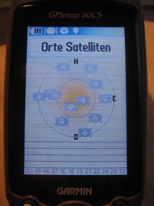 GPSMap 60CS Satelliten-Menü # Orte Satelliten