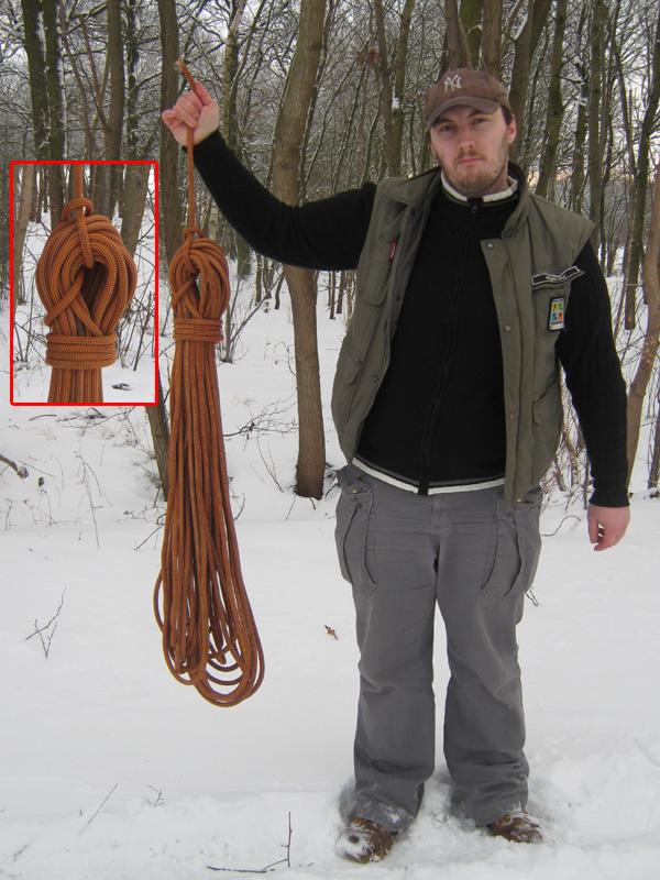 fertig aufgeschossenes und abgebundenes Seil