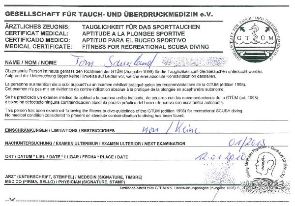 Tauchschein – 3. Schritt: medizinische Untersuchung - Night-Fly\'s ...